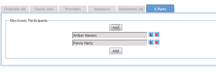 Screenshot of Electronic Participants tab now on IFSP