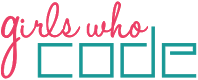 """Girls Who Code Logo: pink script font """"girls who"""" over turquoise block font of """"code"""""""