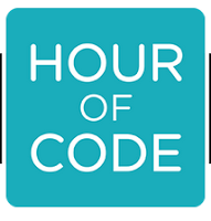 """Hour of Code Logo: Turqouise square with white text """"Hour of Code"""""""