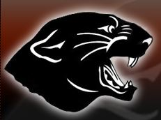 Tripoli Schools Logo: Profile of black panther with white outline and gradient background from red top to black bottom