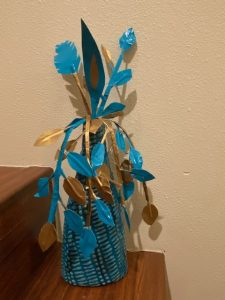 Flowers made out of duct tape
