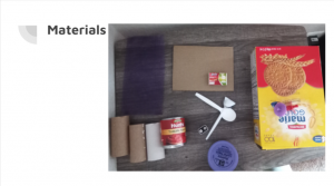 Picture of junk of a box, plastic spoons, toilet paper rolls, can